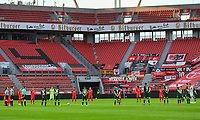 26th May 2020, Leverkusen, North Rhine-Westphalia, Germany; Bundesliga football, Bayer Leverkusen versus VfL Wolfsburg; Players of both teams with a minute silence for victims of the Covid-19 pandemic