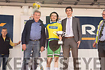 Sean Healy winner of Yellow jersey been presented the Donal McKenna cup by Johnny McKenna and Padraig Mallon (Kerry Group) at the Rás Mumhan cycling in Killorglin on Easter Monday.