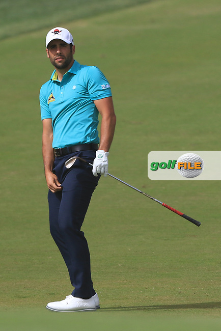 Adrian Otaegui (ESP) on the 3rd during Round 1 of the Omega Dubai Desert Classic, Emirates Golf Club, Dubai,  United Arab Emirates. 24/01/2019<br /> Picture: Golffile | Thos Caffrey<br /> <br /> <br /> All photo usage must carry mandatory copyright credit (&copy; Golffile | Thos Caffrey)