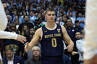 CHAPEL HILL, NC - NOVEMBER 06: Rex Pflueger #0 of the University of Notre Dame is introduced during a game between Notre Dame and North Carolina at Dean E. Smith Center on November 06, 2019 in Chapel Hill, North Carolina.