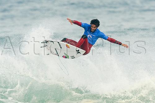 April 19th Bells Beach, Melbourne, Victoria, Australia; Rip Curl Pro Bells Beach Surfing; Ezekiel Lau (HAW) gets a huge amount of air time whilst surfing a wave during his quarter final heat against Filipe Toledo (BRA); Ezekiel Lau (HAW) went on to win the heat