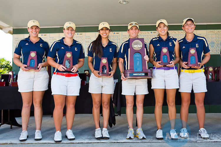 18 MAY 2013: St. Edwards University was the fourth place finisher at the Division II Women's Golf Championship held at the LPGA International Golf Course in Daytona Beach, FL.  Lynn University shot a +17 to win the national title by 3 strokes.  Matt Marriott/NCAA Photos