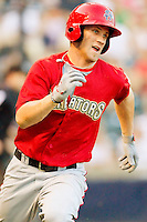 Bryce Harper #34 of the Harrisburg Senators hustles down the first base line against the Richmond Flying Squirrels in game two of a double-header at The Diamond on July 22, 2011 in Richmond, Virginia.  The Senators defeated the Flying Squirrels 1-0.   (Brian Westerholt / Four Seam Images)