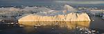 Large icebergs at midnight, end of June, mid summer night, panorama; Disko Bay, Greenland