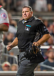 15 August 2017: MLB Umpire Tony Randazzo watches a 4th inning play during a game between the Washington Nationals and the Los Angeles Angels at Nationals Park in Washington, DC. The Nationals defeated the Angels 3-1 in the first game of their 2-game series. Mandatory Credit: Ed Wolfstein Photo *** RAW (NEF) Image File Available ***
