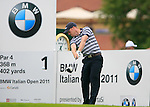 David Horsey (ENG) tees off on the 1st tee off during Day 2 of the BMW Italian Open at Royal Park I Roveri, Turin, Italy, 10th June 2011 (Photo Eoin Clarke/Golffile 2011)