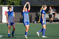 Allston, MA - Saturday August 19, 2017: Angela Salem, Amanda DaCosta, Megan Oyster during a regular season National Women's Soccer League (NWSL) match between the Boston Breakers and the Orlando Pride at Jordan Field.
