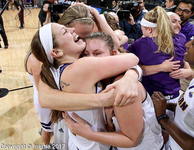 SIOUX FALLS, SD: MARCH 7: The Western Illinois Leathernecks celebrate their 77-69 win over IUPUI following the Women's Summit League Basketball Championship Game on March 7, 2017 at the Denny Sanford Premier Center in Sioux Falls, SD. (Photo by Dave Eggen/Inertia)