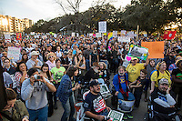 AUSTIN, TEXAS - Anti-Trump protesters gather at Vic Mathias Shores prior to marching throughout downtown Austin following the inauguration of Donald Trump as the 45th president of the United States. Friday January 20, 2017. DAN HERRON / HERRONSTOCK<br />