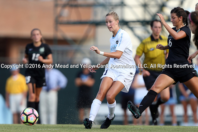 21 August 2016: North Carolina's Cameron Castleberry (center) and Charlotte's Rebecca Beatty (6). The University of North Carolina Tar Heels hosted the University of North Carolina Charlotte 49ers in a 2016 NCAA Division I Women's Soccer match. UNC won the game 3-0