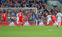 Tornike Okriashvili of Georgia scores his side's first goal during the FIFA World Cup Qualifier match between Wales and Georgia at the Cardiff City Stadium, Cardiff, Wales on 9 October 2016. Photo by Mark  Hawkins / PRiME Media Images.