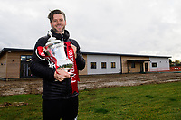 Lincoln City's assistant manager Nicky Cowley with the Emirates FA Cup at Lincoln City's new Elite Performance Centre<br /> <br /> Photographer Chris Vaughan/CameraSport<br /> <br /> The official opening of Lincoln City's new Elite Performance Centre - Wednesday 7th November 2018 - Scampton, Lincolnshire<br /> <br /> World Copyright © 2018 CameraSport. All rights reserved. 43 Linden Ave. Countesthorpe. Leicester. England. LE8 5PG - Tel: +44 (0) 116 277 4147 - admin@camerasport.com - www.camerasport.com
