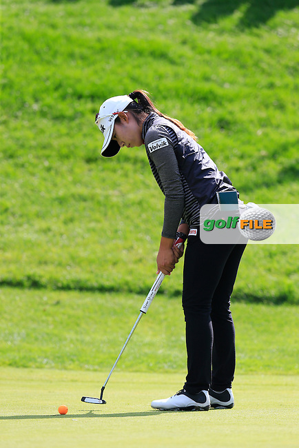 Mi Hyang Lee (KOR) putts on the 12th green during Sunday's Final Round of the LPGA 2015 Evian Championship, held at the Evian Resort Golf Club, Evian les Bains, France. 13th September 2015.<br /> Picture Eoin Clarke | Golffile