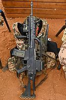 MALI, Gao, Minusma UN peace keeping mission, Camp Castor, german army Bundeswehr, HK Heckler and Koch machine gun G36 / Sturmgewehr Heckler und Koch G 36