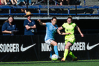 Seattle, WA - Sunday, April 17, 2016: Sky Blue FC defender Kelley O'Hara (19) and Seattle Reign FC forward Manon Melis (14) battle for the ball. Sky Blue FC defeated the Seattle Reign FC 2-1 during a National Women's Soccer League (NWSL) match at Memorial Stadium.
