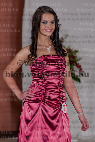 Lilla Szandra Gajdacs participates the Miss Hungary beauty contest held in Budapest, Hungary on December 29, 2011. ATTILA VOLGYI