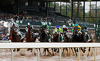 "LEXINGTON, KY - October 8, 2017. Start of the Juddmonte Spinster - eventual winner #11 Romantic Vision and jockey Brian Hernandez Jr. (far left, green/white cap) win the 62nd running of the Juddmonte Spinster Grade 1 $500,000 ""Win and You're In Breeders' Cup Distaff Division"" for owner G. Watts Humphrey Jr. and trainer George Arnold at Keeneland Race Course.  Lexington, Kentucky. (Photo by Candice Chavez/Eclipse Sportswire/Getty Images)"