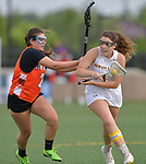 Minooka's Julia Racyzowski (left) defends against O'Fallon's Olivia Branz. O'Fallon played Minooka in a quarterfinal game of the O'Fallon sectional at O'Fallon Sports Park on Monday May 20, 2019. <br /> Tim Vizer/Special to STLhighschoolsports.com