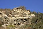 Israel, Carmel coast, Phoenician letters curved in the rock in Atlit .