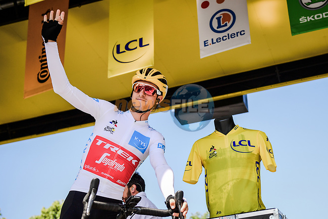 White Jersey Giulio Ciccone (ITA) Trek-Segafredo at sign on before Stage 10 of the 2019 Tour de France running 217.5km from Saint-Flour to Albi, France. 15th July 2019.<br /> Picture: ASO/Pauline Ballet | Cyclefile<br /> All photos usage must carry mandatory copyright credit (© Cyclefile | ASO/Pauline Ballet)