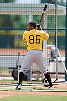Pittsburgh Pirates Gabriel Brito (86) takes batting practice on a side field during an Instructional League Intrasquad Black & Gold game on September 28, 2016 at Pirate City in Bradenton, Florida.  (Mike Janes/Four Seam Images)