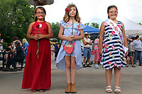 Winners of the Little Miss Strawberry Pageant in the 9-13 years division are (from left) Jazmyne Whittle, second place; Bentli Prins, third place; and Joeli Garvin, first place.