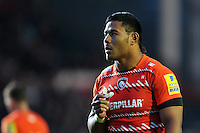 Manu Tuilagi looks on during a break in play. Pre-season friendly match, between Leicester Tigers and Cardiff Blues on August 29, 2014 at Welford Road in Leicester, England. Photo by: Patrick Khachfe / JMP