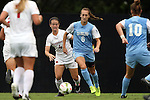 07 September 2014: North Carolina's Summer Green (6) and Arkansas' Erika Miller (4). The University of North Carolina Tar Heels played the University of Arkansas Razorbacks at Koskinen Stadium in Durham, North Carolina in a 2014 NCAA Division I Women's Soccer match. UNC won the game 2-1.