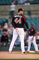 Rochester Red Wings starting pitcher Jason Wheeler (44) looks in for the sign during a game against the Syracuse Chiefs on July 1, 2016 at Frontier Field in Rochester, New York.  Rochester defeated Syracuse 5-3.  (Mike Janes/Four Seam Images)