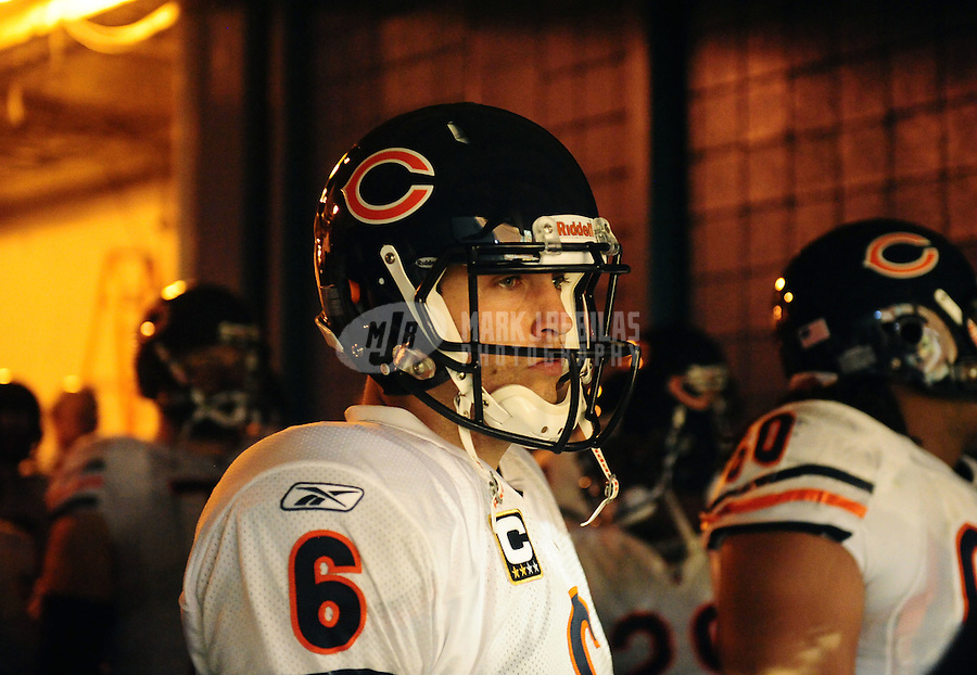 Nov. 18, 2010;  Miami, FL, USA; Chicago Bears quarterback (6) Jay Cutler prior to the game against the Miami Dolphins at Sun Life Stadium. The Bears defeated the Dolphins 16-0. Mandatory Credit: Mark J. Rebilas-
