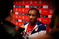 HOUSTON, TX - JANUARY 28: Crystal Dunn #19 of the United States in the mixed-zone during a game between Haiti and USWNT at BBVA Stadium on January 28, 2020 in Houston, Texas.
