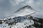 Snow-covered mountain peaks of the Sierra Nevada near Carson Pass, Alpine County, California