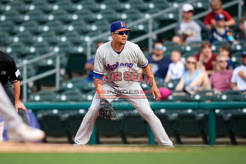Midland RockHounds first baseman Viosergy Rosa (34) during a game against the Northwest Arkansas Naturals on May 27, 2017 at Arvest Ballpark in Springdale, Arkansas.  NW Arkansas defeated Midland 3-2.  (Mike Janes/Four Seam Images)