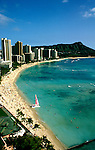 Hawaii: Honolulu, Waikiki Beach and Diamondhead. Photo:hihono102.Photo copyright Lee Foster, 510/549-2202, lee@fostertravel.com, www.fostertravel.com