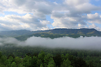 Stock image of gorgeous dense morning clouds floating over the hills of the great smoky mountain national park in Tennessee, America.