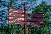 England, Offa's Dyke.  Bilingual English-Welsh Direction Sign Along the Dyke Footpath.
