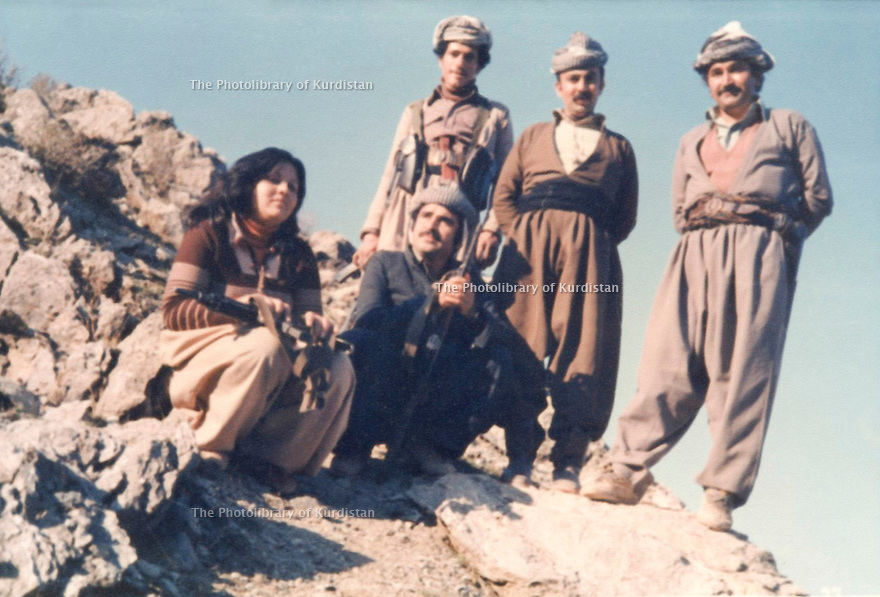 Iraq 1980 <br />  Visit in  Nawzang of Mohammed Chawki, Pasok party, on right Mullazem Omar Abdallah  <br /> IraK 1980 <br /> A Nawzang, Mohammed Chawki de Pasok visitant l'UPK, a droite, Mullazem Omar Abdallah
