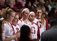 STANFORD, CA - February 22, 2019: Alyssa Jerome, Mikaela Brewer, Lexie Hull, Jenna Brown, Estella Moschkau at Maples Pavilion. The Stanford Cardinal defeated the Arizona Wildcats 56-54.