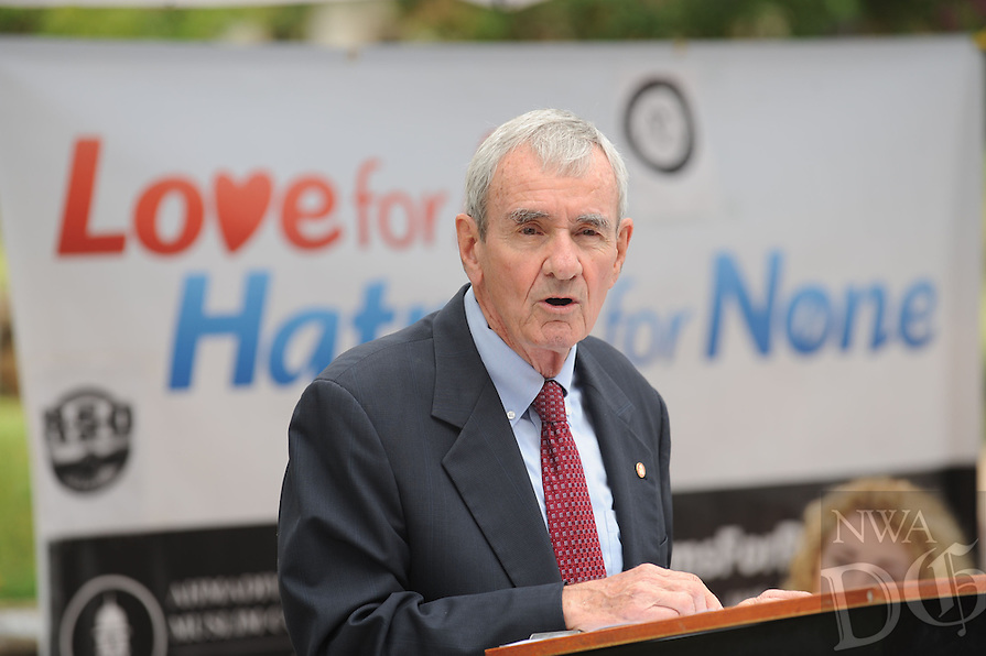 NWA Democrat-Gazette/ANDY SHUPE<br /> Dan Ferritor, interim chancellor of the University of Arkansas, speaks Wednesday, Sept. 9, 2015, during the annual Muslims for Life blood drive sponsored by Al-Islam Students Association at the University of Arkansas in Fayetteville. The event marks the 14th anniversary of the 9/11 terrorist attacks and had the goal of collecting 200 pints of blood from the campus community.