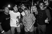 Snapper Rocks, Coolangatta, Queensland, Australia - (Saturday, January 19, 2013) Mark Occhilupo (AUS), Mick Fanning (AUS), Joel Parkinson (AUS), Billabong founder Gordon Merchant (AUS), Stephanie Gilmore (AUS) and Jack Freestone (AUS).  A huge outdoor street party for the newly crowned World Surfing Champion Joel Parkinson (AUS) was held tonight in the Snapper Rocks car-park. Parko was joined on stage by other current World Champions, 5 x Women's World Champion Stephanie Gilmore (AUS) and 2 x World Junior Champion Jack Freestone (AUS). Former World Champions Mick Fanning (AUS) and Mark 'Occy' Occhilupo (AUS) we're also on stage. Billabong founder Gordon Merchant (AUS) presented Parko with an exclusive limited edition book of his career. Australian band Wolfmother  played for the crowd with their special brand of rock music and the night ended with a fireworks display on the Snapper Rocks jump off spot..A crowd of over 2000 people enjoyed the party and the music.Photo: joliphotos.com