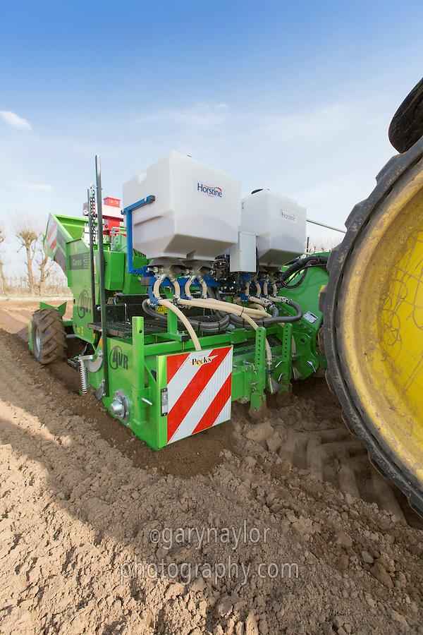 Horstime TMAir appliactors applying Nemathorin on AVR potato planter - Lincolnshire, April