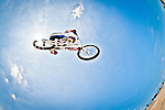 Connor Fields airborne on the London Replica BMX track at the US Olympic Training Center in Chula Vista, CA