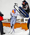 7 February 2009: William Lorentzen, sliding for Norway, leaves the track after falling off his sled during the first run in the Men's Competition at the 41st FIL Luge World Championships, in Lake Placid, New York, USA. .  .Mandatory Photo Credit: Ed Wolfstein Photo
