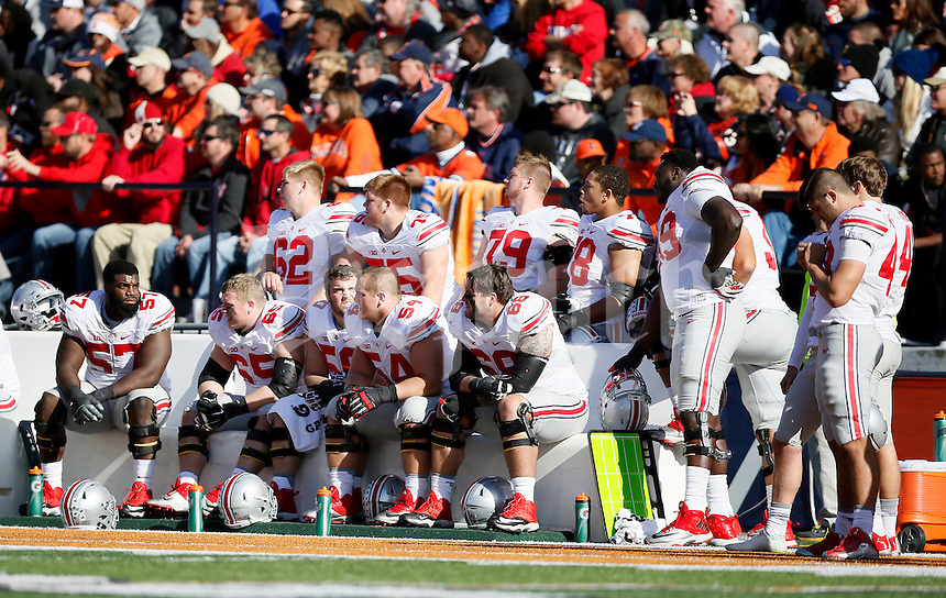 Ohio State Buckeyes offensive line against Illinois Fighting Illini at Memorial Stadium in Champaign, IL on November 14, 2015.  (Dispatch photo by Kyle Robertson)