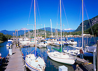 Squamish, BC, British Columbia, Canada - Sailboats and Pleasure Boats docked in Marina at Head of Howe Sound