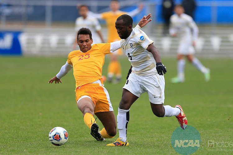KANSAS CITY, MO - DECEMBER 03:  Williams N'dah (23) of the University of Charleston and Elma N'for (9) of Wingate University battle for the ball during the Division II Men's Soccer Championship held at Children's Mercy Victory Field at Swope Soccer Village on December 03, 2016 in Kansas City, Missouri. Wingate beat Charleston 2-0 to win the National Championship. (Photo by Jack Dempsey/NCAA Photos via Getty Images)