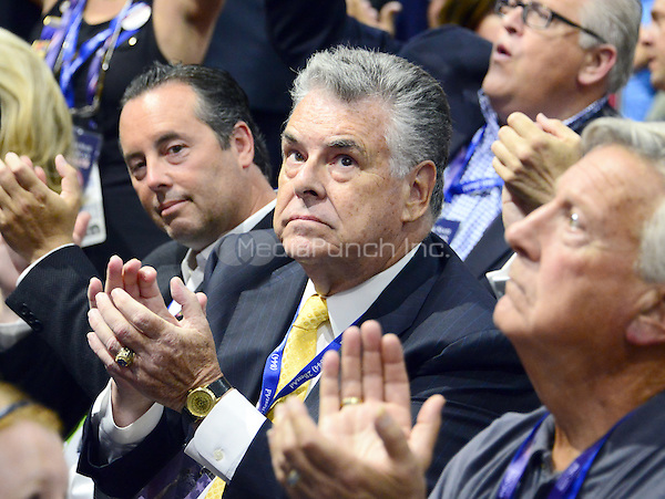 United States Representative Peter King (Republican of New York) applauds the proceedings at the 2016 Republican National Convention at the Quicken Loans Arena in Cleveland, Ohio on Tuesday, July 19, 2916.<br /> Credit: Ron Sachs / CNP/MediaPunch<br /> (RESTRICTION: NO New York or New Jersey Newspapers or newspapers within a 75 mile radius of New York City)