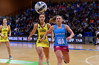 Steel's Gina Crampton and Pulse&rsquo; Karin Burger in action during the ANZ Premiership - Pulse v Steel at Te Rauparaha Arena, Porirua, New Zealand on Wednesday 30 May 2018.<br /> Photo by Masanori Udagawa. <br /> www.photowellington.photoshelter.com
