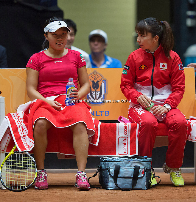 The Netherlands, Den Bosch, 16.04.2014. Fed Cup Netherlands-Japan, Japanese bench with captain Yuka Kaneko and Kurumi Nara<br /> Photo:Tennisimages/Henk Koster