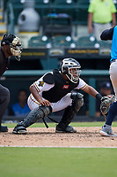 Bradenton Marauders catcher Raul Hernandez (29) awaits the pitch during a Florida State League game against the Tampa Tarpons on May 26, 2019 at LECOM Park in Bradenton, Florida.  Bradenton defeated Tampa 3-1.  (Mike Janes/Four Seam Images)